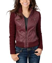all gone wine cable knit sleeve faux leather jacket