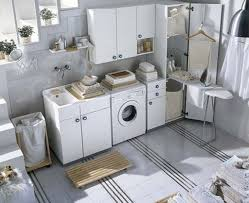 Interior:Seamless White Laundry Room Design With Fiberboard Storage Units  Also White Floor Inspirational Laundry