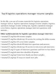 top8logisticsoperationsmanagerresumesamples 150521074726 lva1 app6891 thumbnail 4 jpg cb 1432194499