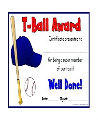Youth Baseball Award Certificates Printable T Ball Certificate ...
