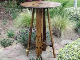pallet wood pub table from giant spool with cable support detail cost 5 in