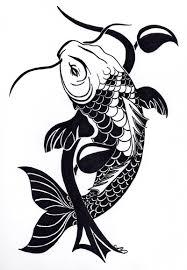 Koi Fish Design Black Ink Koi Fish And Herbal Stem Tattoo Design