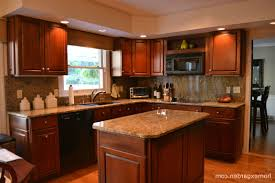 cherry wood kitchen cabis with nice green kitchen walls with cherry