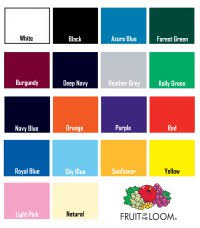 Fruit Of The Loom T Shirt Color Chart Fruit Of The Loom T Shirt Color Chart Fruit Of The Loom