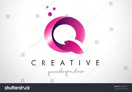 Q Letter Logo Design Template with Purple Colors and Dots
