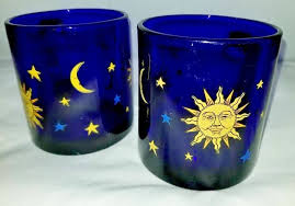 rare pair 12oz libbey celestial cobalt blue glass coffee tea mugs