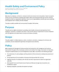Environmental Policy Statement Template 7 Environmental Policy ...