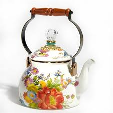 mackenzie childs flower market 2 qt tea kettle white