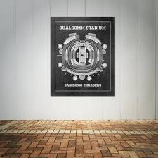 Qualcomm San Diego Seating Chart Print Of Vintage Qualcomm Stadium Seating Chart Seating Chart On Photo Paper Matte Paper Or Canvas