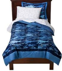 blue camouflage boys twin comforter set