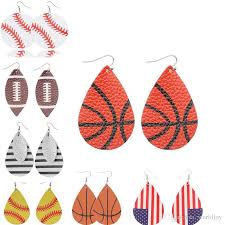 sports pu leather earrings vintage baseball america german national flag football earring united states flag flamingo soccer basketball gold jewelry for