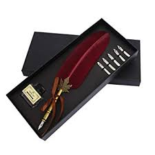 Vintage <b>Feather Quill</b> Dip Pen Ink Set Writing Quill Ink Pen <b>Metal</b>