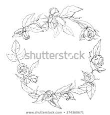 Pattern Wreath Roses Drawn By Hand Stock Vector Royalty Free