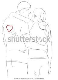 Pencil Sketches Of Couples Pencil Drawing Man Woman Couple Hugging Stock Vector