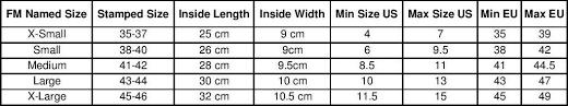 Water Ski Size Chart