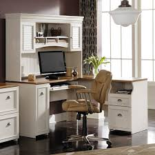 bush fairview l shaped computer desk with optional hutch antique white hayneedle