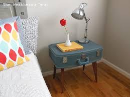 Blue Vintage Suitcase Nightstand