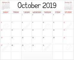 Year 2019 October Planner A Monthly Planner Calendar For October