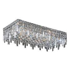 cascade collection 6 light chrome finish and clear crystal flush mount ceiling light 24 l