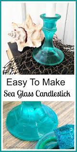 DIY Sea Glass Candlesticks