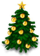 A Christmas Tree with gold baubles