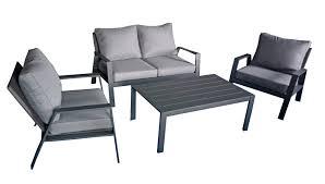 Alu Garten Lounge Sitzgruppe Gartengarnitur Möbel Tisch Sessel Grau