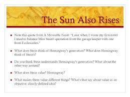 epigrams and epigraphs ppt the sun also rises