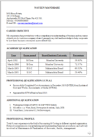 Comprehensive Resume Format Beauteous Dynamic Resume CV Formats ICWA Inter