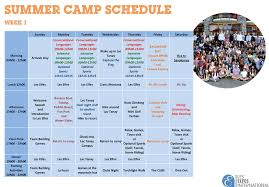 Summer Camp Weekly Schedule Detailed Summer Program Adapted To Age Kids Youth And Teens