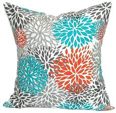 turquoise outdoor pillows turquoise flowers outdoor throw