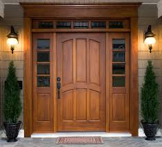 amusing solid wood entry doors front doors with glass and greenery on metal pot