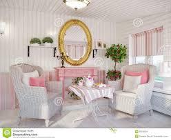 Kamerontwerp Klassieke Traditionele Witte En Roze Kleurenveranda