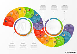 Circle Wave Chart Infographic Template With 12 Options For