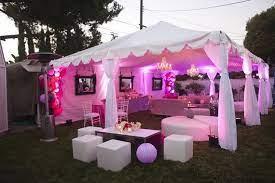 birthday decoration in tent