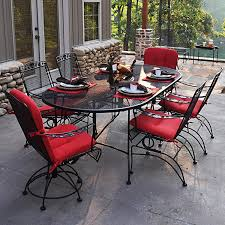 iron patio furniture dining sets. Wonderful Furniture Meadowcraft Dogwood Wrought Iron 7Piece Patio Dining Set  Charcoal Intended Furniture Sets