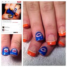 Nail Design Chicago Chicago Bears Mani Inspired By Pinterest Chicago Bears