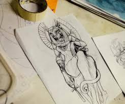Mikeneko Custom Tattoo богиня баст свежий эскиз от