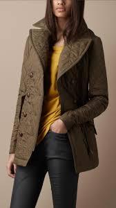 Burberry brit Quilted Pea Coat in Green | Lyst & Gallery. Women's Peacoats Women's Quilted Coats Adamdwight.com