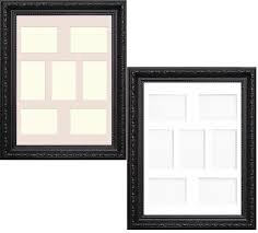 multi aperture shabby chic black photo frame with white ivory mount with size 20x10 for