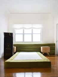 emily henderson sapira mattress diy headboard brady tolbert bedroom green velvet channel tufting channel tufted masculine boho chic headboard 1