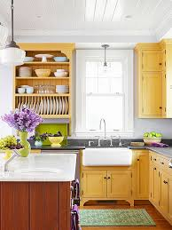 cherry yellow kitchen cabinets with open shelving