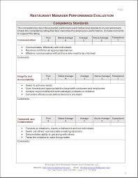 Restaurant Employee Performance Evaluation Form Restaurant Manager Performance Evaluation Form Performance