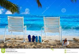 Flip Flop Chair Beach Chairs With Flip Flops By The Ocean Stock Images Image