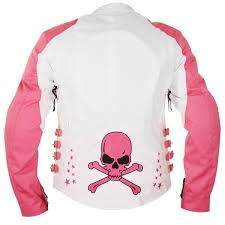 xelement womens skull and stars white pink tri tex armored motorcycle jacket