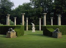 garden columns. The Temple Lawn In Anglesey Abbey Gardens, With Its Ten Corinthian Columns Of Portland Stone Garden