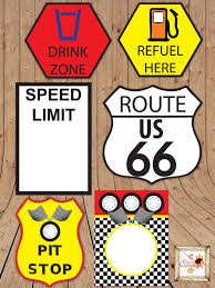 Word Cars Race Car Themed Printable Party Road Signs In Microsoft Word