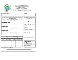 Daily Report Form Child Potty Training