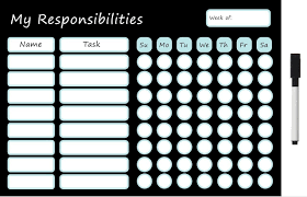 Magnetic Responsibility Chart Dry Erase Board 25cm X 36cm With Marker Pen Eraser Tip Chore Chart Reward Chart