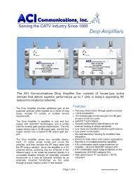 Drop Amplifiers - ACI Communications Inc.