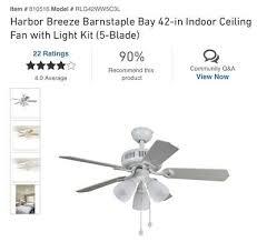 harbor breeze barnstaple bay 42 in white indoor ceiling fan w light kit
